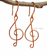 Orange Treble Clef Dangling Earrings - $19.90+
