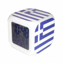 Led Alarm Clock Greece National Flag Creative Desk Digital Clock Kids To... - $19.99