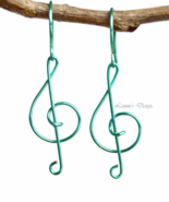 Sea Green Treble Clef Dangling Earrings - $19.90+