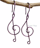 Violet Treble Clef Dangling Earrings - $19.90+