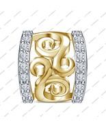 925 Silver Round White Cz Bracelet Charm Perfect Fit Pandora Charm Bead ... - $34.87