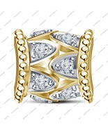 925 Sterling Silver Yellow Gold Plated Charm Bead Fit Pandora Jewelry Br... - £30.48 GBP