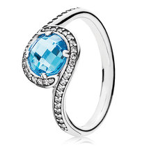 925 Sterling Silver Radiant Embellishment Ring with Blue Zirconia  - $24.99