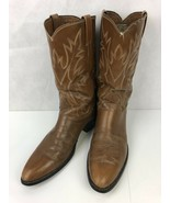Justin 11.5 B Mens Western Cowboy Brown Leather Pull On Traditional Rode... - $108.89