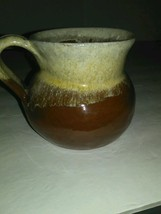 Vintage pottery small creamer two tone colors kitchen table item - $25.00