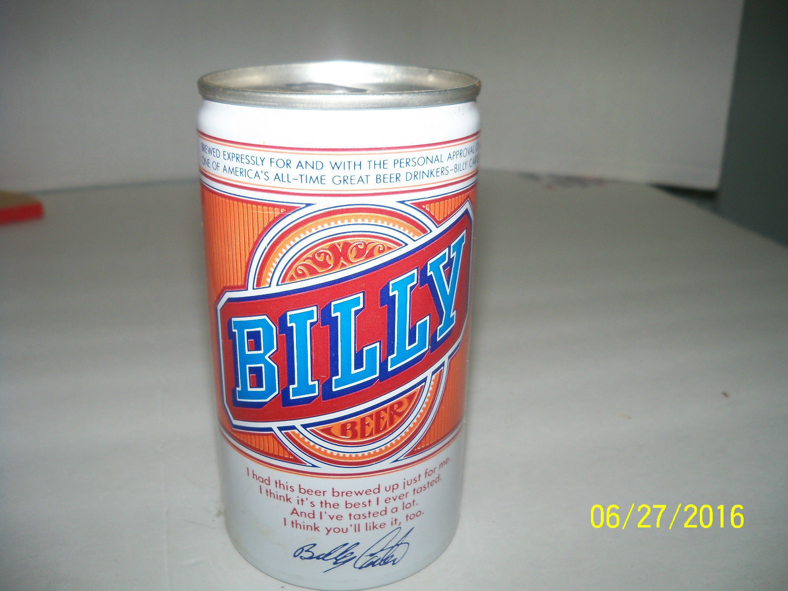 Billy Carter Beer Can Sealed INTACT tab EMPTY Florida stamped metal