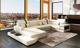 Chic Modern Massimo White & Brown Bonded Leather Sectional Sofa With Light