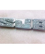 Sterling silver tie clasp with sparkling cut si... - $9.00
