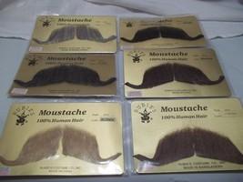 Moustache Human Hair Professional Rubies # 2014 Greys Browns Blk Large Handlebar - $9.75