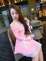 pf094 Sweet Off-shoulder long sleeve swing dress w lace trim, free size,... - $25.80