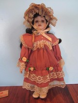 """10"""" vintage porcelain doll brown hair/brown eyes  dress - $17.82"""