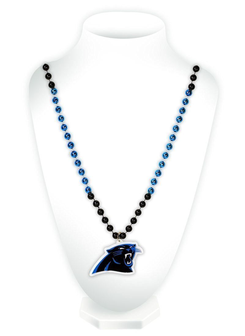 CAROLINA PANTHERS MARDI GRAS BEADS with MEDALLION NECKLACE NFL FOOTBALL