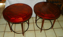 Pair of Mahogany Round Inlaid Side Tables / End Tables - $499.00