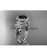 14kt white gold diamond, Sakura engagement ring Black Diamond VD10039 - $2,600.00
