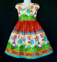 NEW Happy Birthday Cute Kittens/Balloons Border Red Dress Custom Sz 12M-10Yrs - $59.98