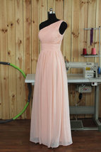 Long Pink One Shoulder Chiffon  Bridesmaid Prom Wedding Gown Dresses 2017 - $99.00