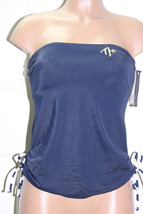 NEW Tommy Hilfiger Side Cinched Bandeau Tankini Top Swimwear XS Navy Str... - $29.69