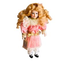 Vintage Porcelain Doll Curly Blond Hair Pink Satin Lace Dress Gold Blue ... - $19.79