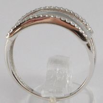 WHITE GOLD RING 750 18K, VERETTA 3 FILE WITH ZIRCON CUBIC, SQUARED image 2