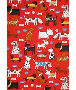 Puppy Dog Animal Bone Bowl on Red Cotton Fabric Daddy & Me by The Yard - $27.21