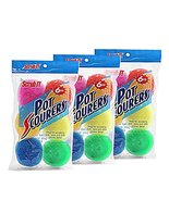18 Round Nylon Dish Scrubber Scouring Pads by Scrub-It -3 Packs of 6 Sco... - $10.99