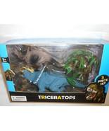 "NEW TRICERATOPS 3 piece BOX SET 10"" & 6"" DINOSAURS & 1 VEGITATION Kids Toy - $13.36"