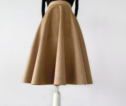 Women SUEDE Circle Skirt Autumn Winter SUEDE Midi Party Skirt, Camel Black Green image 8