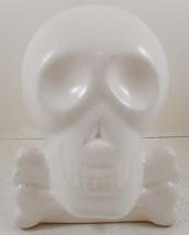 """Skull Skeleton Coin Bank Decoration Halloween Decor Cross Bones White 7""""... - $9.89"""