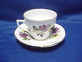 Rosina Tea Cup And Saucer Set Poppy Flowers w Gold Trim Vintage Design E... - $24.75