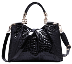 Leather Handbags Crocodile Pattern Women Large Shoulder Bag Blue and Black 418-2 - $55.00