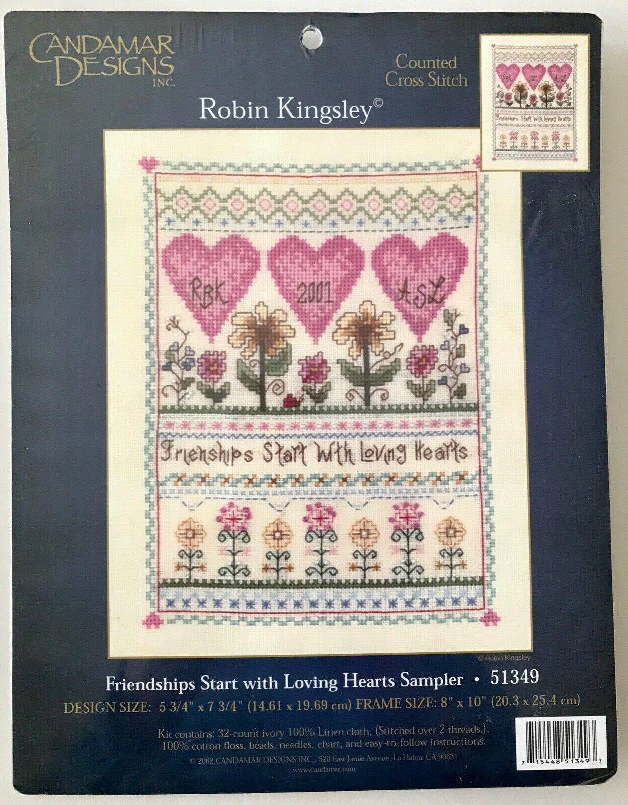 Candamar Cross Stitch Friendships Start with Loving Hearts Sampler 51349 NIP