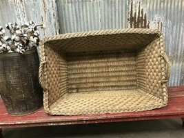 Rectangular Wicker Basket, Vintage German Woven Basket, Storage Organize... - $177.00
