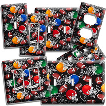 AMERICAN FOOTBALL BALLS HELMETS LIGHT SWITCH OUTLET WALL PLATE BOYS ROOM... - $8.99+