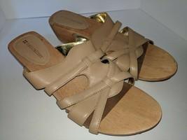 Women's Naturalizer Athens Tan Beige Leather Slide Sandals Size 8 M - $22.76