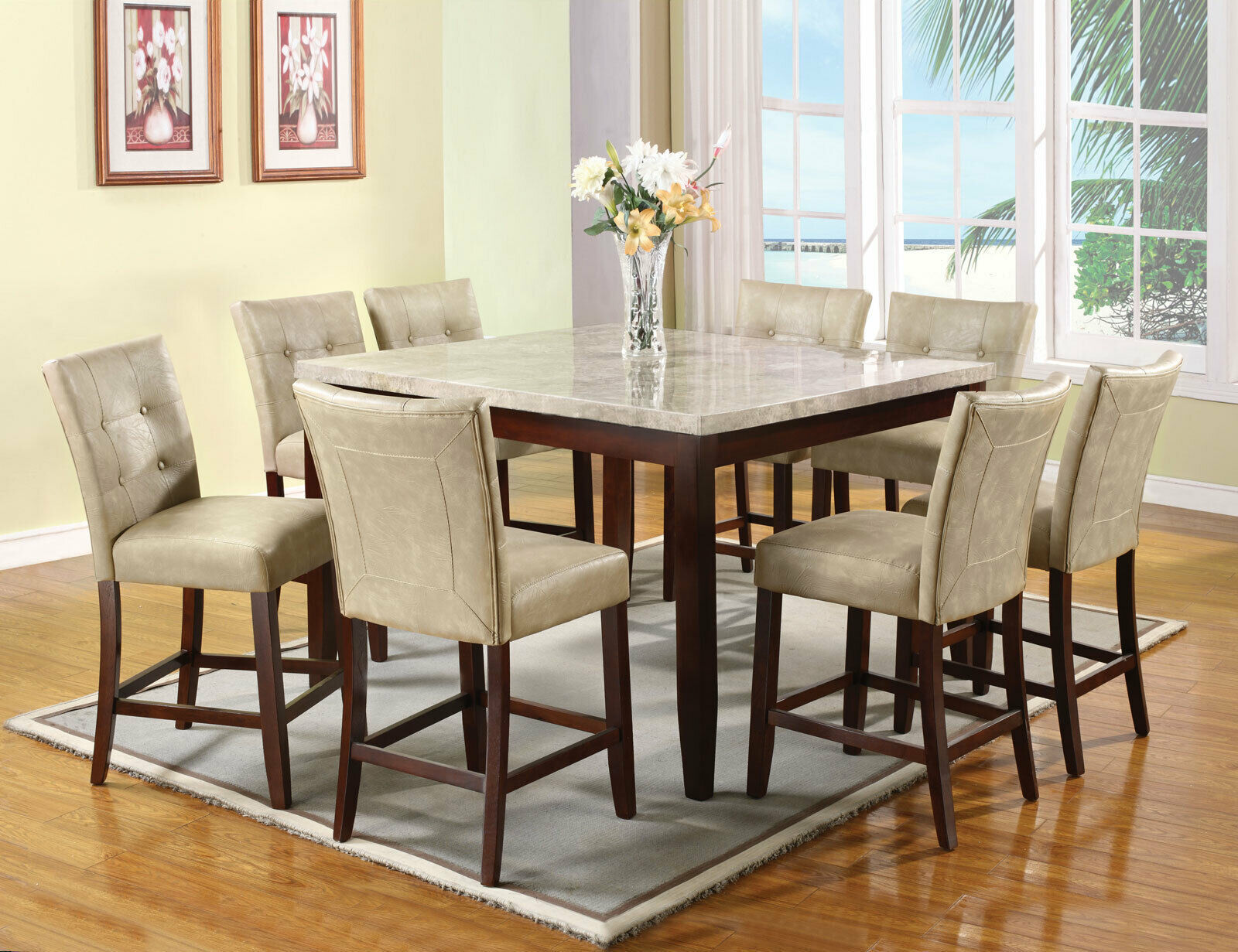 Modern Dining Room Set 9pcs Beige Counter Height Marble
