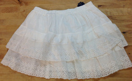 Ralph Lauren Girls White Cotton Blend Layered Lace Skirt, Size L 12-14 - $29.69