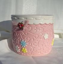 Napco Planter Pink Floral Plant Pot Bow Baby's room Trinket Vase - $17.45
