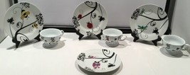 PAI Set of 4 Dessert Luncheon Plates Dishes And 3 Cups With Garden Designs - $49.45