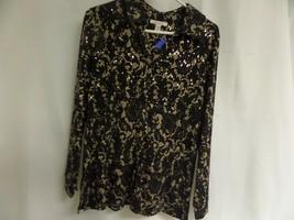Womans Jm Collection Sz Small BLACK/TAN Button Up Top - $18.50