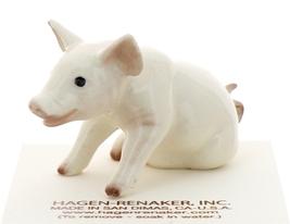 Hagen-Renaker Miniature Ceramic Pig Figurine White Mama Sitting - $9.49