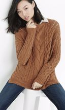 Express Oversized Open Cable Knit Tunic Sweater brown - $33.90