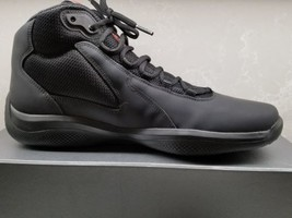NEW Men's Prada Black Matte Leather High Top Sneaker Trainer Shoe US 9 ... - $445.49