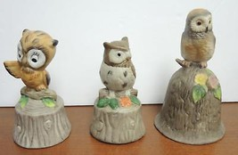 Three Vintage Ceramic Owl Bells - $8.90
