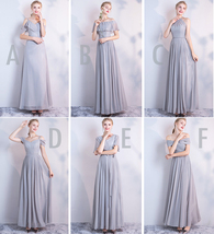 Gray Full Chiffon Bridesmaid Dresses Gray Wedding Bridesmaid Maxi Chiffon Dress  image 9