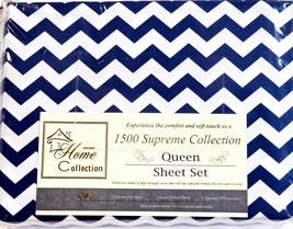 Sweet Home 1500 Supreme Collection 4pc Queen Sheet Set Microfiber Navy Z... - $32.85