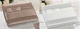 Pleated Taupe or White Guest Book and Pen Wedding Guest Book - $24.95