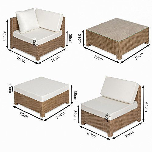 Multiform Garden Sofa Set Polyrattan Patio Balcony Furniture Cushioned Brown image 6