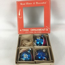 3 VTG Christmas Tree Ornaments Mica Glass Hand Blown Decorated Poland Bo... - $18.38