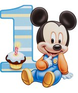 1/2 Sheet Baby Mickey Mouse 1 Year Old Edible Photo Birthday Cake Topper... - $17.50
