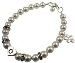 Initial Flower Charm Swarovski Pearl & Rhinestone Flower Girl Bracelet W... - $26.00
